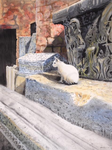Temppelikissa - akvarelli