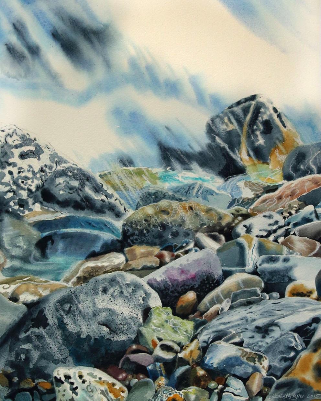 Meri huuhtelee II - akvarelli